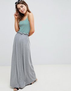 Read more about Asos design maxi skirt with paperbag waist in grey marl - grey marl