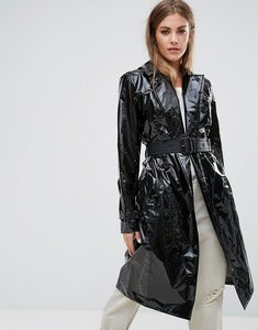 Read more about Hunter super shiny pu trench coat - blk
