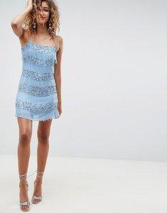 Read more about Asos design all over embellished fringe mini dress - pale blue