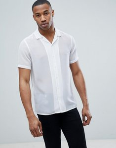 Read more about Asos design regular fit revere collar sheer shirt - white