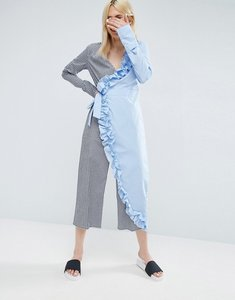 Read more about Asos wrap jumpsuit in cotton stripe with frill - multi stripe