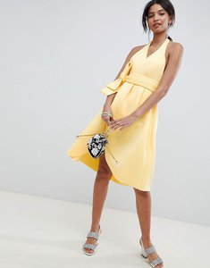 Read more about Asos design halter plunge belted prom dress - sunshine