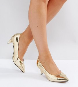 Read more about Asos southern wide fit pointed kitten heels - gold