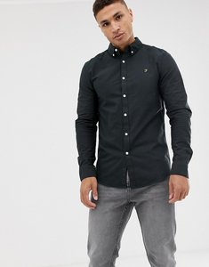 Read more about Farah brewer slim fit oxford shirt in black - black