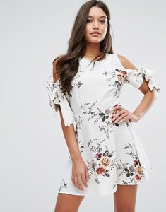 Read more about Missguided floral tie sleeve dress - multi