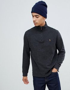 Read more about Polo ralph lauren half zip cotton knit jumper with multi player logo in charcoal marl - black marl h