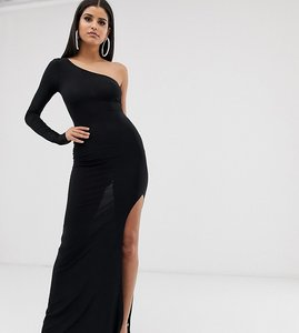Read more about Club l london tall one shoulder thigh split maxi dress in black
