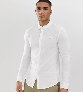 Read more about Farah kompis slim fit pique jersey shirt in white - white