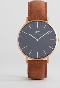 Read more about Daniel wellington classic black durham leather watch with rose gold dial 40mm - tan