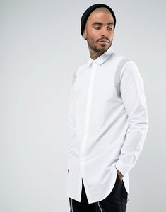 Read more about Asos regular fit super longline shirt with grey contrast tape - white