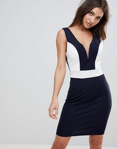 Read more about Wal g midi dress with deep sweetheart neckline and contrast panels - navy white