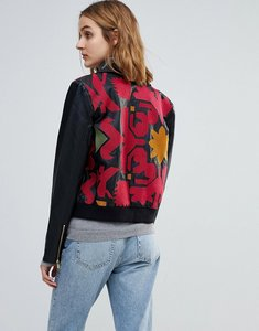 Read more about Free people embroidered vegan leather moto jacket - black