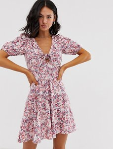 Read more about Asos design tie front mini tea dress with puff sleeves in vintage floral