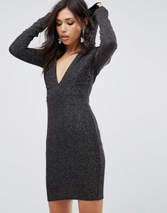 Read more about Club l glitter plunge front bodycon dress with hood - silver metallic
