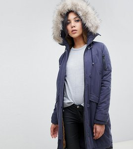 Read more about Asos design tall luxe parka with faux fur trim - navy