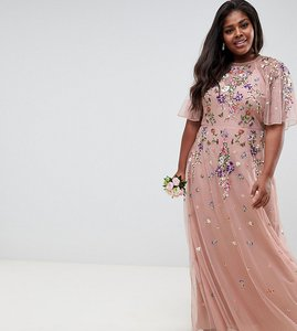 Read more about Asos design curve bridesmaid floral embroidered dobby mesh flutter sleeve maxi dress - nude