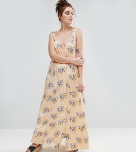 Read more about Asos curve maxi dress with cross back in vintage floral print - multi