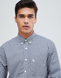 Read more about Abercrombie fitch core poplin gingham shirt slim fit in navy - navy