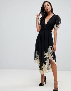 Read more about Asos design soft midi dress with lace inserts