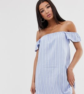 Read more about Missguided bardot mini dress in blue stripe