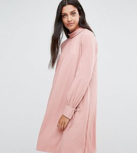 Read more about Y a s tall tie cuff shift dress - pink