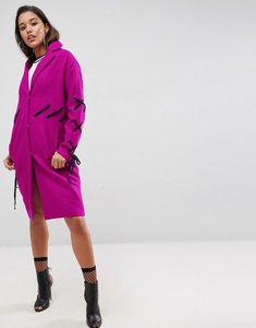 Read more about Asos coat with contrast lace detail - berry