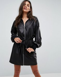 Read more about Asos faux leather track dress - black