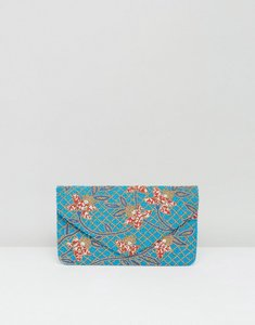 Read more about Clutch me by q hand beaded rose print clutch - turquoise