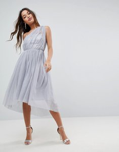Read more about Asos premium crystal bodice tulle one shoulder midi prom dress - grey