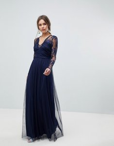 Read more about Asos lace maxi dress with long sleeves - navy