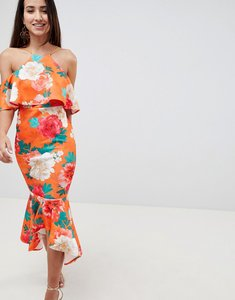 Read more about Asos design floral ruffle cold shoulder asymmetric pephem midi dress - multi