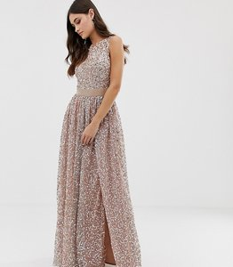 Read more about Maya allover contrast tonal delicate sequin dress with satin waist in taupe blush