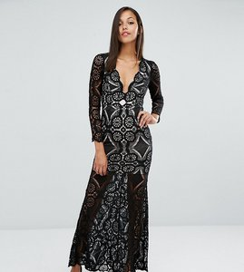 Read more about Love triangle fishtail maxi dress in allover lace - black