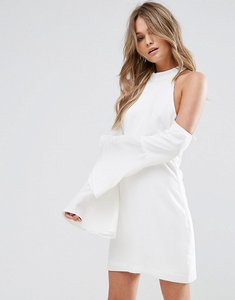Read more about Wyldr over it cold shoulder shift mini dress - ivory