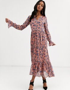 Read more about Y a s floral maxi dress with gather detail