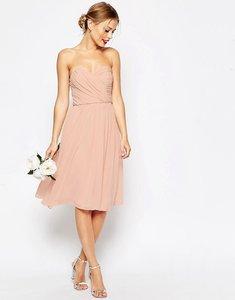 Read more about Asos wedding chiffon bandeau midi dress - navy