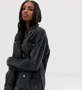 Read more about Asos design tall denim girlfriend jacket in washed black - washed black