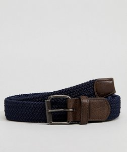 Read more about Asos slim woven belt in navy - navy