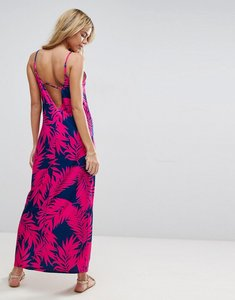 Read more about Asos maxi dress with v back in palm print - palm print