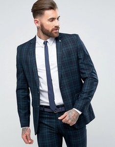 Read more about Farah skinny suit jacket in check - green