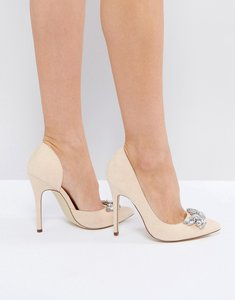Read more about London rebel jewel trim point high heels - nude micro