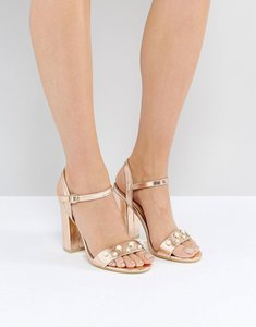 Read more about Public desire oklahoma rose gold pearl detail heeled sandals - rose gold