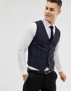 Read more about Selected homme skinny suit waistcoat in check - navy