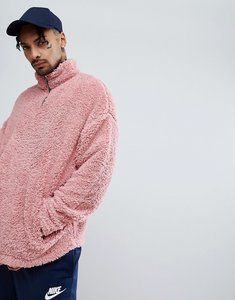 Read more about Asos oversized sweatshirt in borg with half ziptrack and contrast neck - pink