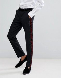 Read more about Asos skinny tuxedo suit trousers in red paisley velvet - black