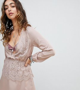 Read more about Sacred hawk deep plunge dress in satin and lace - nude