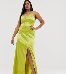 Read more about Club l london plus satin plunge front maxi dress with high thigh split in lime