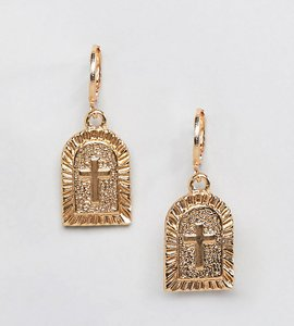 Read more about Reclaimed vintage inspired cross charm earrings - gold