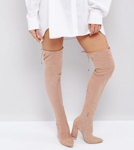Read more about Asos karma pointy over the knee boots - nude