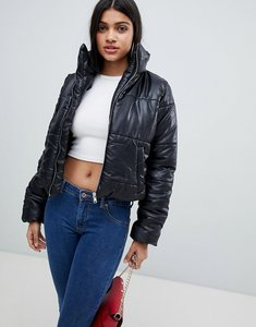 Read more about Ax paris wet look padded jacket - black
